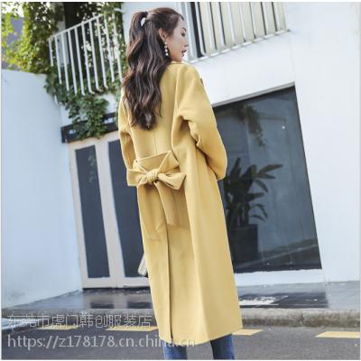 2018新款韩版呢子大衣 韩版双面羊绒毛呢大衣批发便宜长款风衣批发