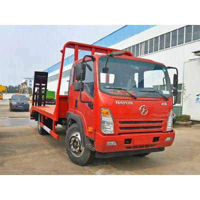 短轴距挖机平板运输车厂家直销大运4100拉150挖机拖车
