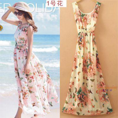 2017夏季新品印花雪纺上衣套装裙波西米亚长裙沙滩裙