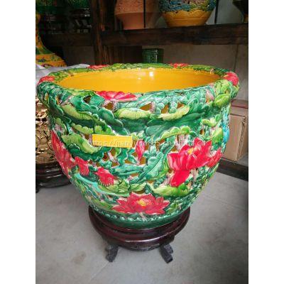 艺术摆件陶瓷字画缸批发 雕刻荷花双层缸图片 景德镇陶瓷鱼缸厂