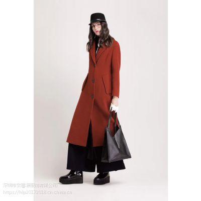 希色 一三国际深圳一线品牌时尚简约羊毛大衣走份批发 经典纯色品牌折扣女装尾货大量供应