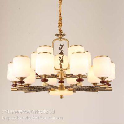 全铜新中式吊灯9212新款别墅复式酒店餐厅现代中式纯铜客厅灯吊灯