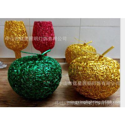 热销新品创意铝线工艺礼品韩国特色铝质金苹果装饰礼品摆件品厂家