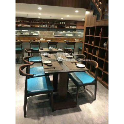 料理店餐桌椅 火烧石餐桌 行一家具 简约现代