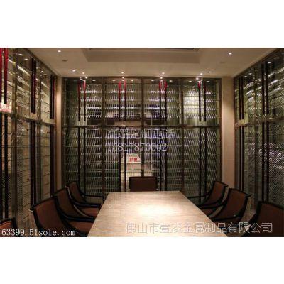 不锈钢红酒柜展示架定制 玫瑰金拉丝现代会所红酒架