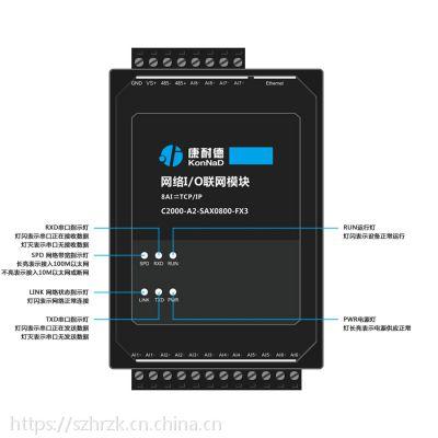 远程模拟量采集器8AI转TCP/IP以太网康耐德品牌质保6年