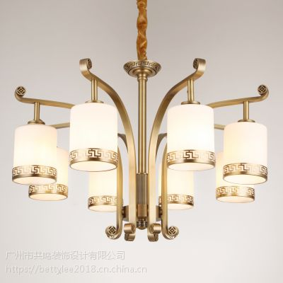 全铜新中式吊灯9088新款别墅复式酒店餐厅现代中式纯铜客厅灯吊灯