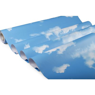 缘艺墙纸厂家批发儿童卡通环保pvc墙膜蓝天白云壁纸型号YF009