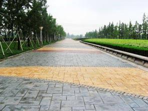 海南省儋州市生态印花路面 彩色压模地坪 混凝土压花防滑防腐