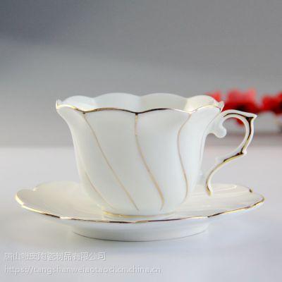 唯奥陶瓷厂家批发骨瓷咖啡杯碟 欧式金边陶瓷咖啡水杯套装 可定制礼品加logo