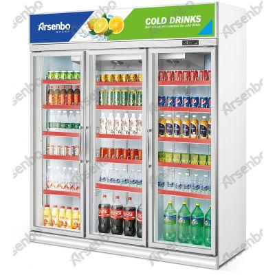 广东喜洋洋冷柜供货商 雅绅宝SA16L3F立式三门展示柜 风冷保鲜饮料柜