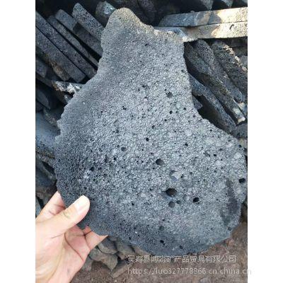 河北博淼生产黑色火山岩切片 黑色火山岩机切面 自然面火山石板材300-500cm