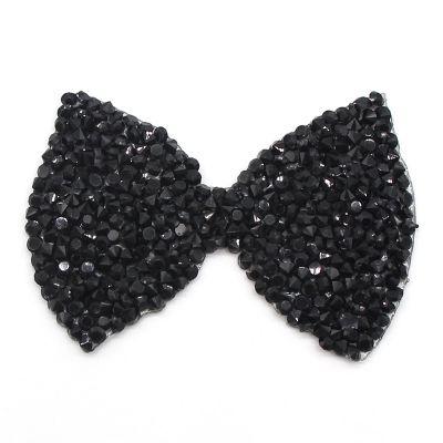 黑色环保树脂钻烫钻烫图 优质乱钻蝴蝶结图案 服装发饰配件