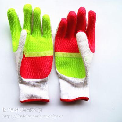供应新款牛郎星胶片防滑耐磨加厚手套 涂胶浸胶胶皮劳保手套
