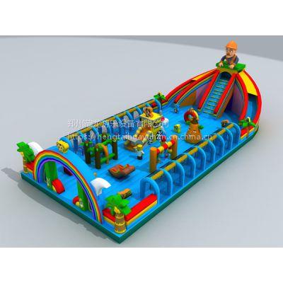 蹦蹦床滑梯厂家报价 大号波浪滑滑梯充气堡 庙会上的中型汽包床城堡价格