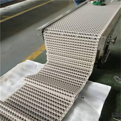 蓝色塑料网带输送机/水平模块网链传送带/自动化输送设备/生产流水线德隆定制