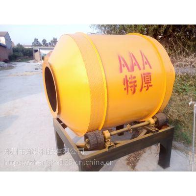 江苏溧阳郑科600型四轮摩擦驱动小滚筒拌料机