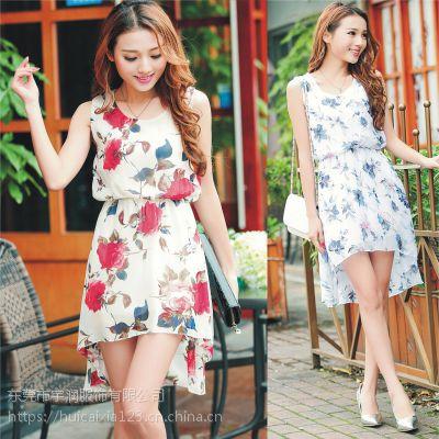 女装夏季新款韩版短袖棉蕾丝雪纺衫连衣裙地摊夜市清仓外贸女装货源