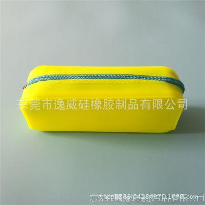 硅胶礼品加工厂 定制印刷硅胶笔袋 糖果色铅笔收纳袋拉链包