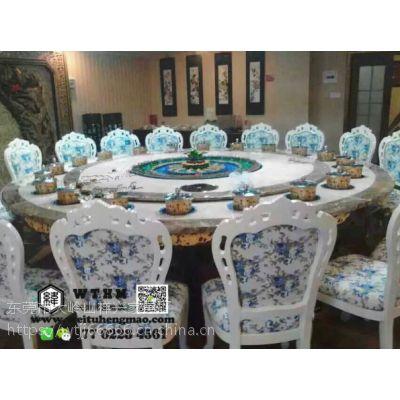 天津自动旋转桌电动大圆桌餐桌椅,电动转盘火锅桌,现代中式酒店大圆桌