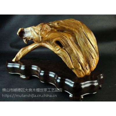 木檀世家太行崖柏陈化红肉老料根雕工艺品摆件野猪彩虹桥木雕刻件收藏品