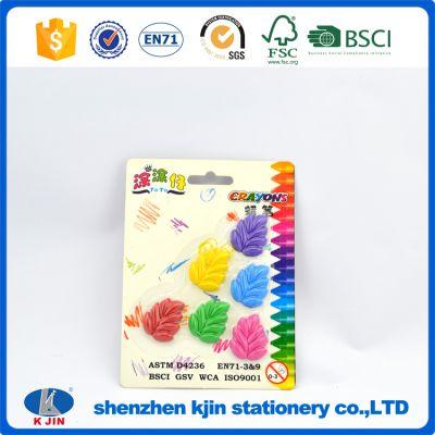 KJIN OEM树叶造型3D彩色学生蜡笔/绘画办公礼品