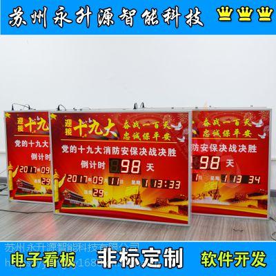 苏州永升源厂家定制安全生产运行天数正计时看板开会倒计时温湿度时钟显示屏