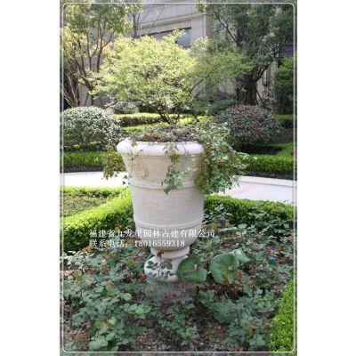 惠安石雕九龙星厂家供应石雕花钵花岗岩黄锈石现代欧式花盆户外庭院园林景观装