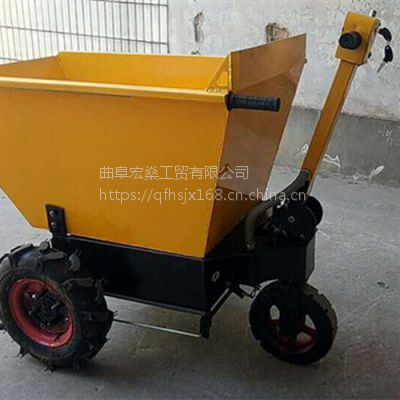 电动手推工程运输三轮车 小型建筑式工程翻斗车灰斗车