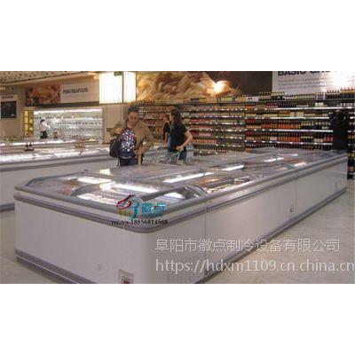 高档速冻水饺展示冷柜,商用低温冷冻柜,超市豪华组合岛柜