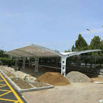 双边停车棚公司公共遮阳雨棚膜结构停车棚汽车露天张拉膜车棚设计