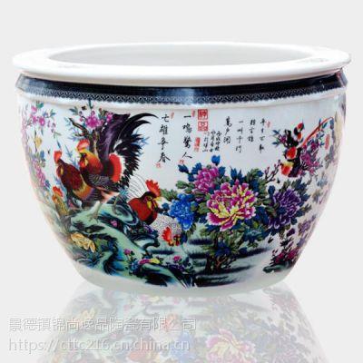 景德镇 陶瓷鱼缸 超大睡莲缸全手绘金鱼缸 大缸窑变手绘荷花