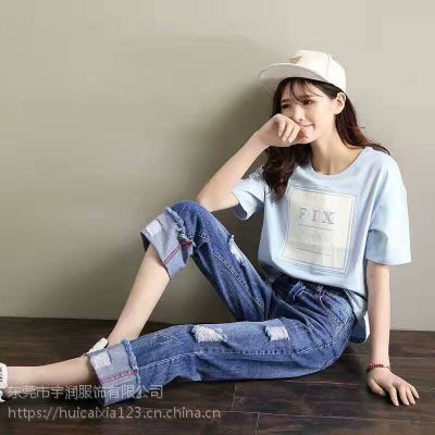 安徽滁州凤阳县大量低价女T恤批发新款时尚圆领女装直销货源