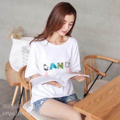 虎门的T恤批发市场韩版T恤批发男装女装印花T恤批发修身纯色背心厂家直销