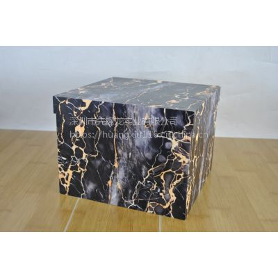 新颖款式亚克力有机玻璃大理石花纹储物箱收纳箱(黑色款)