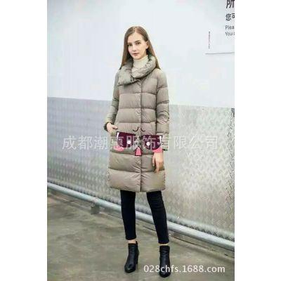 成都品牌折扣女装 冬季女士新品外套外贸 轻薄型纯色羽绒服外套保暖批发货源