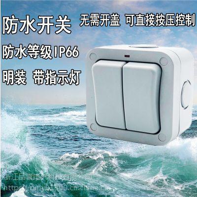 户外防水开关双开室内外花园浴室工地IP66单双控带指示灯明装防雨开关