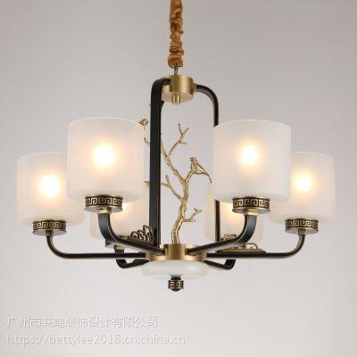 全铜新中式吊灯9089新款别墅复式酒店餐厅现代中式纯铜客厅灯吊灯