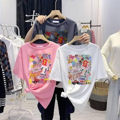 新款地摊货源热卖t恤女士上装 圆领印花上衣女 便宜女式批发