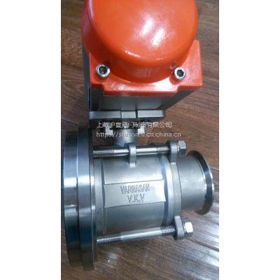 上海沪宣 Q681W-10P DN80 气动灌底阀 不锈钢快装罐底阀
