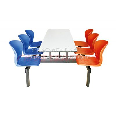 怀化市四人六人八人位可定制长条凳学校食堂餐厅饭店简约现代连体塑钢餐桌椅