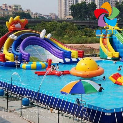 夏季火爆水上乐园 充气水滑梯 水上漂浮物 支架水池
