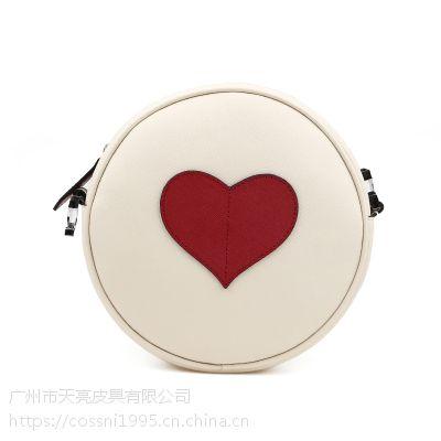 真皮女包工厂加工制作牛皮十字纹圆形挎包女Cossni品牌外贸货源2006