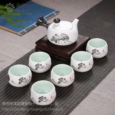瓷功夫茶具家用 客厅雪花釉七头茶具套装茶壶茶杯礼品整套