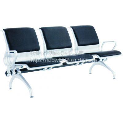 2019新款带皮垫排椅*钢排椅钢排椅生产企业*正宗不锈钢排椅3人位机场椅