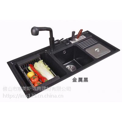 石英石水槽、豪华厨柜石英石水槽、广东石英石水槽,刮不花免维护