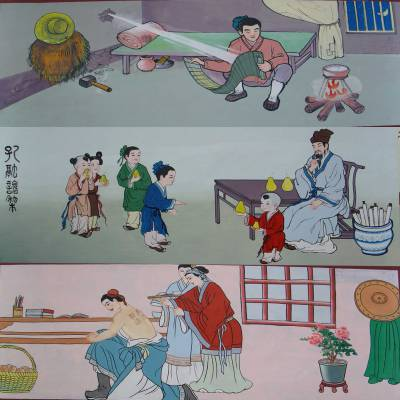 幼儿园国学壁画传统文化壁画成语故事壁画
