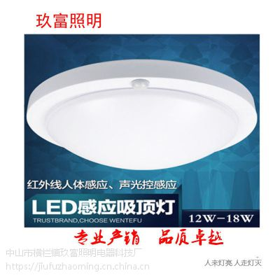 楼盘走廊感应灯 微波雷达吸顶灯 声光控延时感应灯 玖富LED感应灯