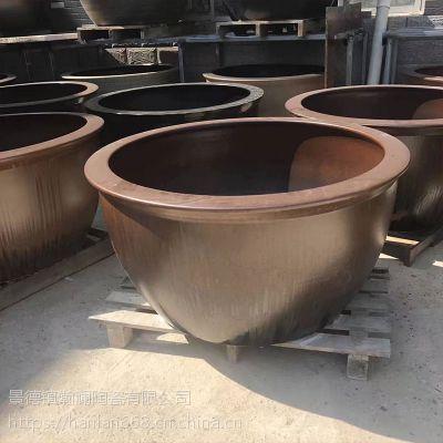 景德镇陶瓷1米直径养锦鲤鱼缸睡碗莲缸 地排水 陶瓷浴缸 泡澡缸摆件