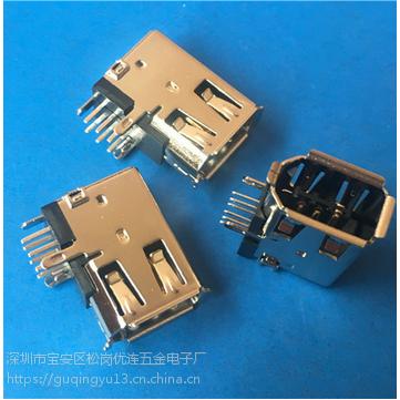 侧插1394 母座6P 90度插板 侧立式卷边DIP 接口 PCB-创粤